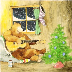 inside of Bear's house (estelle & ivy) Tags: bear christmas illustration night cozy guitar snowy christmastree retro 1980s childrensbook cheerfulhome