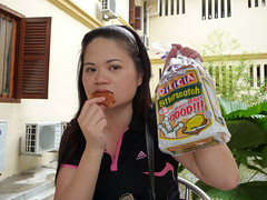 Penang Aug 09 - 17 Shirley trying a Gardenia Butterscotch bread
