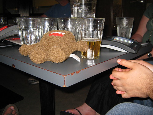 Domo-kun had a little too much to drink.