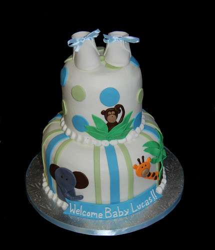 Jungle themed new baby cake