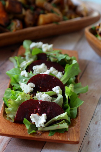Warm Beet Salad with Roasted Garlic Dressing