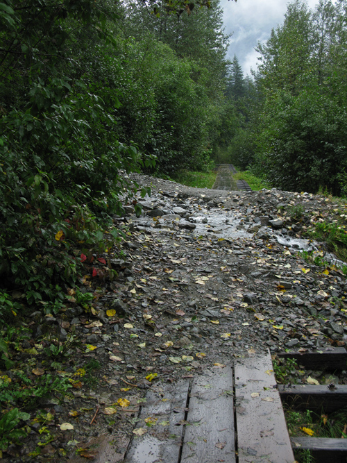 little landslide over The Flume with water, Juneau, Alaska
