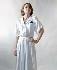 Secretary Dress with Kerchief (EpsilonVintage) Tags: urban white vintage dress indie waitress secretary collar 1980s shirtdress polkadot kerchief buttondown daydress