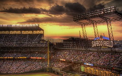 Glory Days (Philerooski) Tags: seattle sunset summer field sign clouds canon ball buildings lights washington neon baseball dusk crowd ballgame mariners safeco safecofield base hdr scoreboard stands philerooski