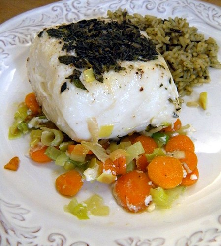 Halibut baked in parchment