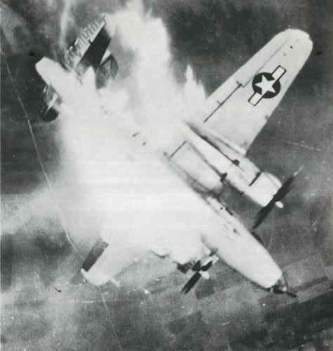 Warbird picture - Martin B-26 Marauder,flak hit left wing tank