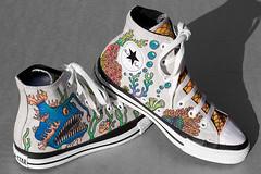 Hand decorated shoes (Flightless Kiwi) Tags: fish coral illustration shoes bright drawing cartoon canvas chucks
