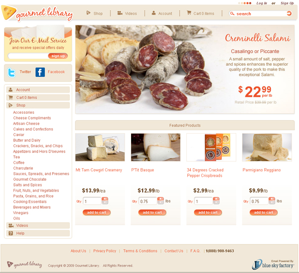 GourmetLibrary.com Homepage Take 2