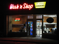 Wash 'n Shop (magarell) Tags: sign night neon nj laundromat morriscounty denville