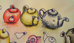 Teapot_Trio (AnnieM00) Tags: pen ink sketch watercolour teapot