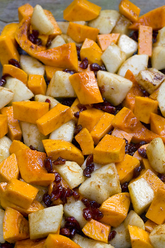 before roasting Butternut Squash, Pears, and Cranberries