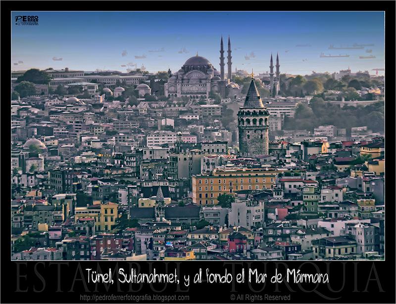 Tünel, Sultanahmet y Mar de Mármara desde el Hotel Mármara Taksim