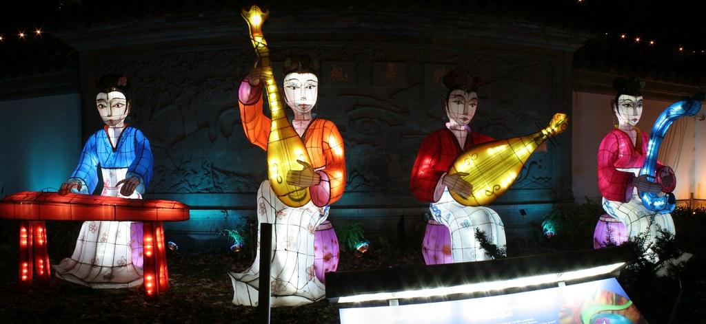 Groupe musical - Lanternes chinoises - Jardin de Chine
