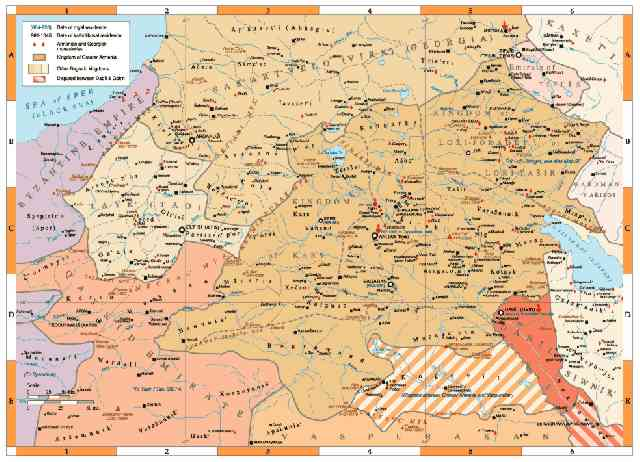The Bagratid Kingdoms in Armenia, 962-1064.  Click for larger image.  (Robert H. Hewsen and the University of Chicago)