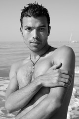 Umesh #19 (just.Luc) Tags: sea shirtless portrait bw mer man male beach strand asian meer european retrato young handsome zee nb bn uomo northsea belgian nepalese portret plage ritratto hombre homme merdunord zw