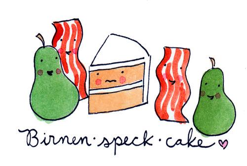 Birnen Speck Cake