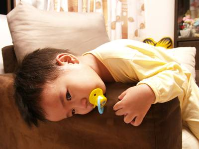 Julian with pacifier