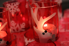 Red Rudolph (indeed_11) Tags: red holiday canon reindeer warm candle dof bokeh spirit warmth rudolph depth votive indeed11