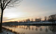 In this light and on this evening (KarolusLinus) Tags: trees sunset snow water zonsondergang bomen december belgium walk sneeuw belgië westvlaanderen treeline lys kortrijk leie wandeling marke courtrai bomenrij