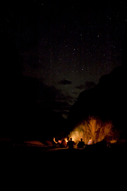 Campfire and stars that evening.