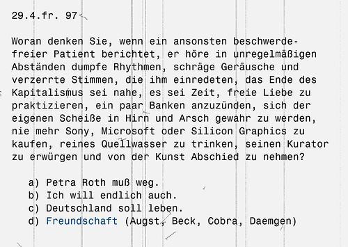 Postkarte der Band Freundschaft zur Lage der Kultur und Kulturpolitik in Frankfurt. April 1997