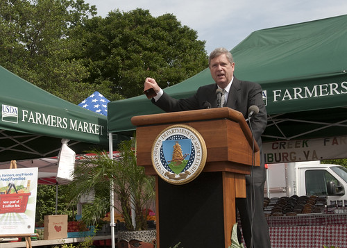 Agriculture Secretary Tom Vilsack rings the bell opening the 2011 Farmers Market located at the U.S. Department of Agriculture in Washington, DC, on Friday, Jun. 3, 2011.