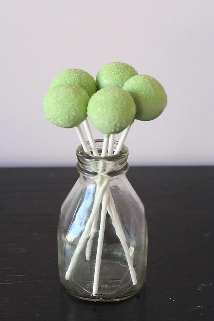 Green Sparkle Sugar Cake Pops