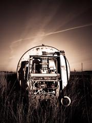 Pump (jarnasen) Tags: panasonicdmclx100 lx100 freehand handheld pocketcam gas pump diesel tank fluid rust derelict abandoned field farm farmland sverige sweden östergötland östgötaslätten copyright järnåsen jarnasen monochrome mono geo geotag sunlight light shadows