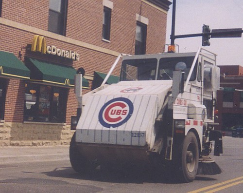 A City of Chicago Department of Streets and Sanitation Elgin Pelican street sweeper vechicle on West Fullerton Avenue near North Halsted Street. Chicago Illinois. September 2002. by Eddie from Chicago