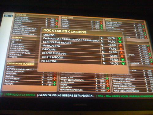 Affichage au Merval des tarifs sur un écran