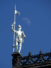 Guarding the Moon (Storm Crypt) Tags: city morning travel people urban paris france building history tourism architecture facade buildings square french photography hall construction europa europe cityhall spires flag bricks citylife statues veranda piazza westerneurope buidling digitalphotography hteldeville finearts plazza travelphotography pariscityhall frenchtourism gorgoyles mywinners 4tharrondissement paristourism thirdrepublic cityhallofparis historyoffrance