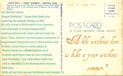 postcard from *k to *s on her birthday!