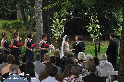 Wedding ceremony at Oakland Green B&B