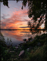 The best time of year (Richiedude) Tags: sunset summer lake tree green grass clouds canon eos evening rocks sigma manual 1020mm hdr blend 450d vertorama