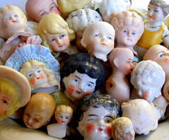 Bowl of Victorian/Edwardian doll heads (AlliesAdornments) Tags: china dolls faces victorian bisque creepy german heads dollheads porcelain edwardian dollparts