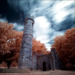 Gothic Tower (ScudMonkey) Tags: tower landscape gothic ruin explore squareformat slowshutter infrared folly hoya hardwickhall r72 gothictower paulbradley