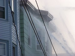clearing up (Sam T (samm4mrox)) Tags: morning fire chaos smoke maine disaster damage unexpected firefighters lewiston disasters kodakz8612