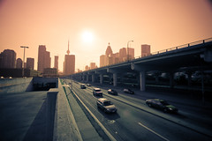city on mars (greyvdm) Tags: street sunset toronto ontario canada skyline concrete highway cityscape cntower skyscrapers pavement towers gardiner expressway asphalt canonefs1022mmf3545usm platinumphoto