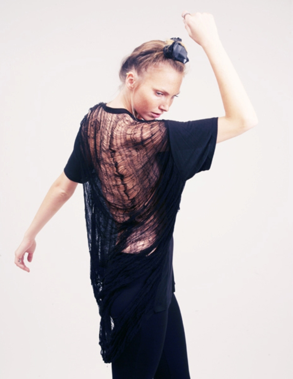 Obesity and Speed crew neck top with shredded sheer cobweb back 2
