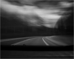 Road Trip (marina_chen) Tags: road arizona sky blackandwhite bw usa cloud motion blur tree grandcanyon grandcanyonnorthrim hoomahooba