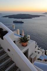 At Anchor (MrHRdg) Tags: sunset sea white freeassociation wall island volcano stair ship sunshade santorini greece stop caldera thira fira plantpot neakameni greekisland