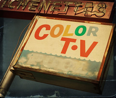 Color TV (bekinaz) Tags: arizona texture sign vintage motel mesa tattered colortv playingwithbrushes