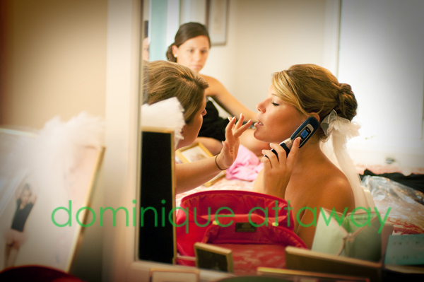 bride getting ready on the phone