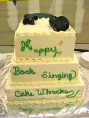 "cake donated by local bakery. very ""wrecky"" and funny! (ArtisanCakeCompany) Tags: cake portland weddingcake winner firstplace booksigning artisan fondant powels jenyates cakewrecks carrotjockey eliabethmarek"