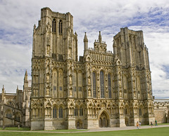 Wells Cathedral (pixiepic's) Tags: windows sky people building clouds worship cathedral wells