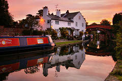 A Cheshire Dawn (Chris Beesley) Tags: pink sky reflection water dawn cheshire bridgewatercanal lymm pentax1645 pentaxk100dsuper