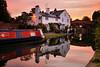 A Cheshire Dawn (Chris Beesley) Tags: pink sky reflection water dawn cheshire bridgewatercanal lymm pentax1645 pentaxk100dsuper
