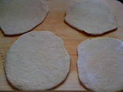 Pitas rolled out and ready to go into the oven