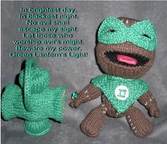 Green Lantern Sackboy Peep for Matt's Birthday (theknittycat) Tags: cute green comics toy toys dc knitting power geek handmade battery knit handknit ring gifts gift lantern knitted peeps amigurumi geeky littlebigplanet ravelry knittycat geekcraft theknittycat