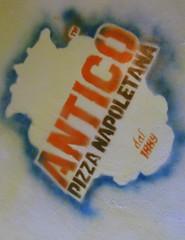antico pizza - floor signage
